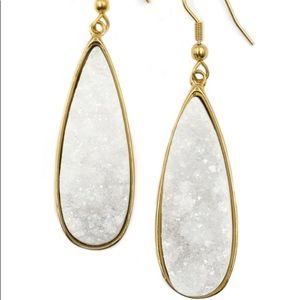 Gold Quartz Drop Earrings